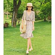 Mujer Línea A Vestido Casual/Diario Simple,Estampado Escote en Pico Midi Media Manga Poliéster Verano Tiro Alto Rígido Medio