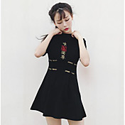 Mujer Vaina Vestido Casual/Diario Bordado Escote Redondo Sobre la rodilla Manga Corta Algodón Poliéster Verano Tiro Medio Microelástico