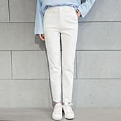 Mujer Sencillo Tiro Medio Microelástico Ajustado Pantalones,Delgado Un Color