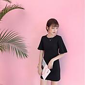 Mujer Línea A Vestido Noche Casual/Diario Simple,Un Color Escote Redondo Sobre la rodilla Manga Corta Algodón Verano Tiro Alto