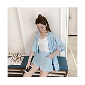 Mujer Chic de Calle Noche Verano T-Shirt Pantalón Trajes,Escote Redondo Un Color Manga Tres Cuartos Espalda al Aire Inelástica