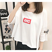 Mujer Simple Casual/Diario Camiseta,Escote Redondo Un Color Letra Manga 3/4 Algodón