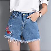 Mujer Sencillo Tiro Alto Microelástico Vaqueros Shorts Pantalones,Corte Recto Floral