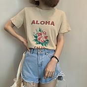 Mujer Simple Casual/Diario Camiseta,Escote Redondo Floral Manga Corta Algodón