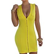 Mujer Corte Bodycon Vestido Casual/Diario Sexy Bonito,Un Color Escote en Pico Sobre la rodilla Sin Mangas Algodón Acrílico Licra Verano