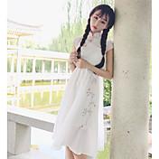 Mujer Vaina Vestido Noche Casual/Diario Bordado Escote Chino Midi Manga Corta Algodón Verano Tiro Medio Microelástico Fino