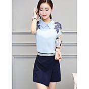 Mujer Simple Casual/Diario Verano T-Shirt Falda Trajes,Cuello Camisero Estampado Manga Corta