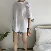 Mujer Simple Casual/Diario Camiseta,Escote Redondo Estampado Letra Media Manga Algodón
