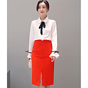 Mujer Simple Casual/Diario Verano Camisas Falda Trajes,Cuello Camisero Un Color Manga Larga
