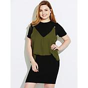 Mujer Vaina Vestido Trabajo Un Color Escote Redondo Sobre la rodilla Manga Corta Algodón Primavera Tiro Medio Microelástico Medio