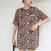 Mujer Simple Casual/Diario Camiseta,Escote Redondo Leopardo Letra Manga Corta Otro