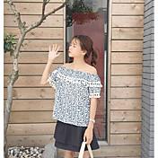 Mujer Simple Casual/Diario Blusa,Escote Barco Floral Manga Corta Algodón