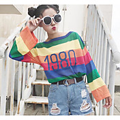 Mujer Regular Pullover Playa A Rayas Bloques Escote Redondo Manga Larga Otro Primavera Otoño Medio Microelástico
