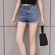 Mujer Sencillo Tiro Medio Microelástico Vaqueros Shorts Pantalones,Corte Recto Estampado