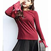 Mujer Regular Pullover Casual/Diario Simple,Un Color Escote Redondo Manga Larga Algodón Otro Primavera Medio Microelástico