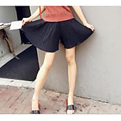 Mujer Adorable Tiro Medio Microelástico Shorts Pantalones,Perneras anchas Un Color Floral