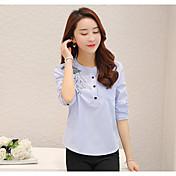 Mujer Simple Casual/Diario Camisa,Escote Redondo A Rayas Manga Larga Algodón