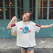 Mujer Bonito Casual/Diario Camiseta,Escote Redondo Estampado Manga Corta Algodón