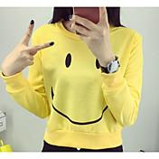 Damer I-byen-tøj Sweatshirt Ensfarvet Trykt mønster Rund hals Bomuld Mikroelastisk Langærmet Forår