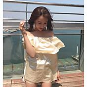 レディース カジュアル/普段着 Tシャツ,セクシー ボートネック ソリッド ポリエステル 半袖