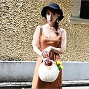 Mujer Simple Casual/Diario Blusa,Escote Redondo Un Color Manga Corta Poliéster