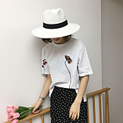 Mujer Simple Bonito Casual/Diario Camiseta,Escote Redondo Bordado Manga Corta Algodón