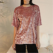 Mujer Simple Casual/Diario Camiseta,Escote Redondo Un Color Manga Corta Otro
