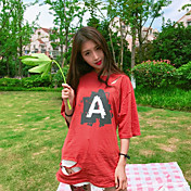 Mujer Activo Casual/Diario Camiseta,Escote Redondo Estampado Letra Manga Corta Algodón