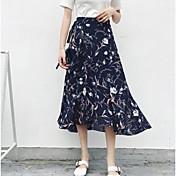 Mujer Playa Asimétrico Faldas,Columpio Verano Estampado
