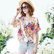 Mujer Sofisticado Casual/Diario Camiseta,Escote Redondo Floral Estampado Manga Corta Algodón