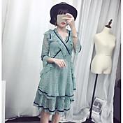 Mujer Vaina Vestido Noche Un Color Escote en Pico Hasta la Rodilla Manga 3/4 Poliéster Verano Tiro Medio Microelástico Fino