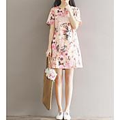 Mujer Vaina Vestido Casual/Diario Simple,Estampado Escote Redondo Sobre la rodilla Manga Corta Acrílico Verano Tiro Medio Rígido Medio