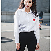 Mujer Simple Noche Camisa,Cuello Camisero Un Color Letra Manga Larga Algodón