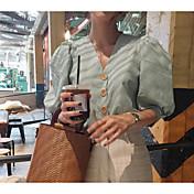 Mujer Simple Noche Camisa,Escote en Pico Un Color Manga Corta Algodón