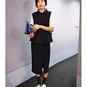 Mujer Simple Casual/Diario Primavera Otoño T-Shirt Falda Trajes,Escote Chino Un Color Sin Mangas
