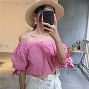 Mujer Simple Casual/Diario Camisa,Escote Barco Estampado Manga Corta Otro
