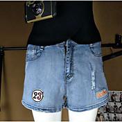 Mujer Sencillo Tiro Medio Microelástico Vaqueros Shorts Pantalones,Corte Ancho Letra