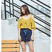 Mujer Simple Casual/Diario Camisa,Escote Barco Un Color Manga Corta Algodón