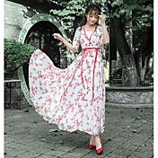 Mujer Vaina Vestido Noche Floral Escote en Pico Maxi Midi Manga Corta Poliéster Verano Tiro Medio Microelástico Fino