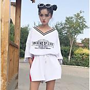 Mujer Simple Deportes Verano T-Shirt Pantalón Trajes,Escote Redondo Letra Manga Tres Cuartos