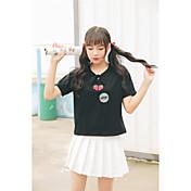 Mujer Simple Bonito Casual/Diario Camiseta,Escote en Pico Bordado Manga Corta Algodón