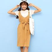 Mujer Simple Casual/Diario Verano T-Shirt Falda Trajes,Escote Redondo Un Color Manga Corta Microelástico