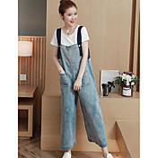 Mujer Adorable Tiro Alto Microelástico Mono Pantalones,Corte Recto Un Color
