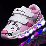 Dívčí Tenisky lehké Soles Svítící boty Koženka Podzim Zima Ležérní LED Nízký podpatek Zelená Růžová a bílá Černobílá Méně než 2.5 cm