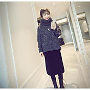 Mujer Regular Pullover Casual/Diario Un Color Escote Redondo Manga Larga Lana Otoño Invierno Medio Rígido
