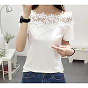 Mujer Simple Casual/Diario Camiseta,Con Tirantes Un Color Sin Mangas Algodón