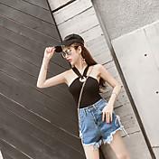 Mujer Chic de Calle Noche Verano T-Shirt Pantalón Trajes,Escote Redondo Un Color Sin Mangas Espalda al Aire Inelástica