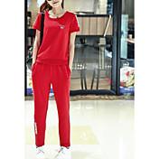 Mujer Simple Casual/Diario Verano T-Shirt Pantalón Trajes,Escote Redondo Un Color Patrón Manga Corta