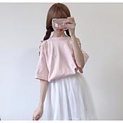 Mujer Sexy Casual/Diario Camiseta,Escote Redondo Un Color Media Manga Algodón