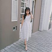 Mujer Corte Ancho Vestido Casual/Diario Simple,Un Color Bordado Escote Redondo Midi Manga Corta Poliéster Verano Tiro Medio Rígido Fino
